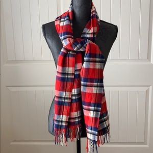 Joan Rivers Soft Red Blue Black Plaid Scarf
